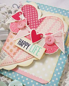 Happy Life - Folded Heart Cover Card