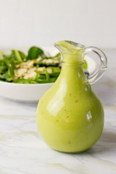 CREAMY AVOCADO VINAIGRETTE ● 1 ripe avocado; ● 1/4 cup white wine vinegar; ● Juice of one lemon (use a good citrus juicer, like this one); ● Salt and pepper, to taste; ● 3/4 cup extra virgin olive oil. In a food processor, combine avocado, vinegar, lemon juice, salt and pepper. Run processor until very smooth and creamy. With processor running on low, stream in olive oil through the shoot until just combined.