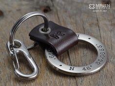 Mens Personalized Leather Keychain - Latitude Longitude GPS Keychain - Leather & Stainless Steel Key Fob - Custom Coordinates USD) by MavenMetalsInc Latitude And Longitude Coordinates, Leather Projects, Stainless Steel Rings, Leather Keychain, Engraved Rings, Leather Working, Leather Craft, Gifts, Key Chain