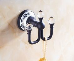 Crystal Deco Oil Rubbed Bronze Bath Towel Hook Wall Mount Coat Clothes Hanger #ROZIN