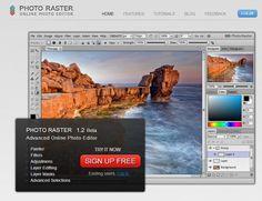 Photo Raster es una herramienta capaz de trabajar con capas, filtros o mascaras. Hace falta registrarse indicando nuestro email y una contraseña. Accedemos a un panel de herramientas muy similar al de PhotoShop. PhotoRaster permite guardar las imágenes en nuestra cuenta en formato .pra o .jpg.