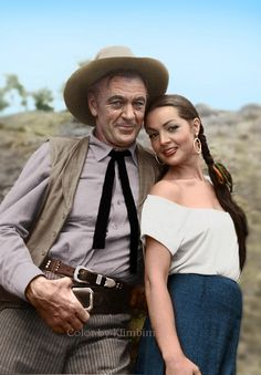 VERA CRUZ (1954) - Gary Cooper & Sara Montiel on location in Mexico - Directed by Robert Aldrich - United Artists - Publicity Still.