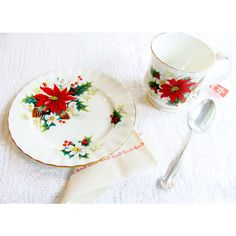 Royal Albert Poinsettia Bone China Cup Mug Bread Plate Leave Tea And... (34 AUD) ❤ liked on Polyvore featuring home, kitchen & dining, royal albert and bone china