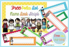 Free polka-dot desk strips with handwriting lines.