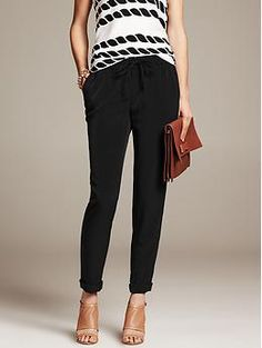 Black Drapey Pant - Pants just bought these and I love them! can be casual or more dressy for work. I bought the petite small because thats all we had in our store but I wonder if an xsmall would have been a better fit. I'm still happy with them :)