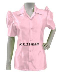 Light Pink Casual Wear Button Down Shirt Stretchy Collar Shirt Short Sleeve Casual Office Wear, Casual Wear, Half Sleeve Shirts, Half Sleeves, The Office Shirts, Shirts For Girls, Collar Shirts, Shirt Blouses, Satin Shirt