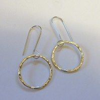 Hammered Silver Circles Drop Earrings