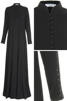 PINTUCK BLACK ABAYA - Classic pintucking and buttons running down the placket and up the cuffs, sophisticated & smart with an air of elegance. Made from Twill Marina, the perfect outfit for work and smart dressing all season. Abaya Fashion, India Fashion, Modest Fashion, Fashion Outfits, Muslim Dress, Hijab Dress, Hijab Outfit, Muslim Women Fashion, Islamic Fashion