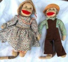 Mr Mrs Old McDonald Had A Farm Sock Monkey Dolls Big Red Lip But Cheek 9pcs | eBay