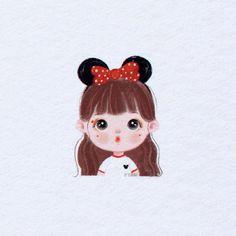 Mini Drawings, Kawaii Drawings, Cartoon Drawings, Cartoon Art, Cute Cartoon Images, Cute Cartoon Girl, Cute Love Cartoons, Best Friends Cartoon, Friend Cartoon