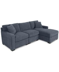 Radley 3 Piece Fabric Chaise Sectional Sofa: Custom Colors | Macys.com