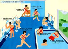 Japanese Bath Etiquette - bc you really need an illustrated guide to public bathing. Seriously, you do.