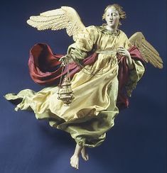 """Angel"" Date: century, Italian (Naples) Medium: Polychromed terracotta head; wooden limbs and wings; Christmas Tree Angel, Christmas Nativity, Christmas In Italy, Antique Christmas, Angels In Heaven, Heavenly Angels, Christmas Preparation, Christian Christmas, Angel Ornaments"