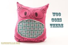 Owl Pillow made from Recycled T-Shirts Pinned by www.myowlbarn.com