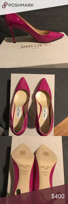 NEVER WORN Jimmy Choo Patent Leather Fuschia Pumps These shoes HAVE NEVER BEEN WORN. They are 85mm heel height and Euro size 37.5. I got them during my travels in Europe and have decided that 85mm is too short a heel height for me. I will send in the original box. Jimmy Choo Shoes Heels