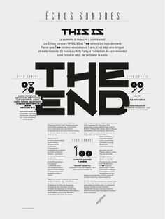 Échos Sonores - The End  Design graphique — affiche , 2011    Poster annonçant le 100e et ultime Échos sonores - This is the end !