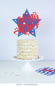 Oh My Stars Patriotic Cake Topper // Free Printable // Rice Krispie Treat Cake & Cute DIY Cake Topper for 4th of July | @kimbyers TheCelebrationShoppe.com