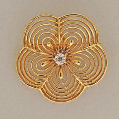1920 14K FLOWER PIN PENDANT OLD