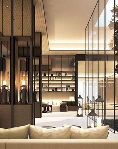 SCDA Hotel & Mixed-Use Development, Nanjing, China- Spa Courtyard Lounge. Via SCDA Interiors