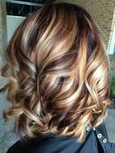 Autumn swirls - Cherry cola lowlights with blonde highlights. by Sylvia Powers