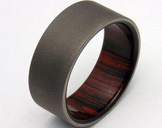 Items similar to Mens Titanium Wedding Band With an Ironwood Sleeve, Wood Ring, Customizable Ring on Etsy