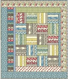 love this easy pattern...I like the asymmetrical style of the border.  Good quilt for using up scraps.
