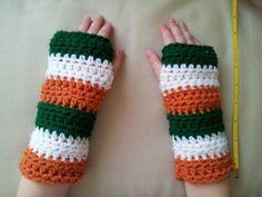Irish Flag Fingerless Gloves / Wrist Warmers St. Patrick's Day Green White Orange Stripes Child or Adult Size