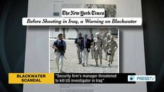 "Blackwater Rep Reportedly Issued Death Threat to US Investigator:The US government was losing control over Blackwater's activities. Richter said in his statement, ""The management structures in place to manage and monitor our contracts in Iraq have become subservient to the contractors themselves."" Going further, Richter said, ""To me, it was immediately apparent that the Blackwater contractors believed that they were the de facto authority and acted accordingly, in an alarming manner."""