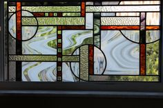 Abstract stained glass panel by Stainedglasslove on Etsy, $268.00
