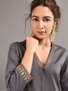 Grey Cotton Kurta with Hand Embroidered Gota Patti Work Embroidery On Kurtis, Kurti Embroidery Design, Embroidery Dress, Crystal Embroidery, Hand Embroidery, Neck Designs For Suits, Dress Neck Designs, Blouse Designs, Simple Kurta Designs