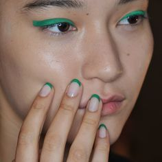 The Top 5 Nail Trends from the Spring 2016 Runways: The New Frenchie - The standard French mani was reimagined this season. Nail artists created a youthful twist on the classic by incorporating bursts of color or foil accents. At Monique Lhuillier, brightly colored tips provided an exciting contrast.  Image: Courtesy of Morgan Taylor Lacquer
