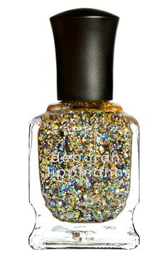 Sparkly gold and blue glitter nail polish for prom!