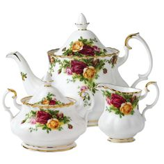 Old Country Roses Tea Set... Because I still believe in tea parties. Because I still believe every girl needs a beautiful tea set. And yes... I use my set all the time, even when I'm the only one having tea.