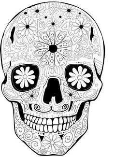coloriage anti stress tete de mort