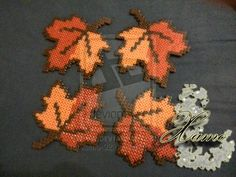 4 Autumn Leaves Coasters Hama Bedas by Xamolandia Melty Bead Patterns, Pearler Bead Patterns, Perler Patterns, Beading Patterns, Perler Bead Templates, Diy Perler Beads, Perler Bead Art, Motifs Perler, Halloween Beads