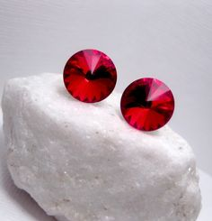 Wizard Of Oz Red Crystal Earrings - Swarovski Elements - Stud Post Backing