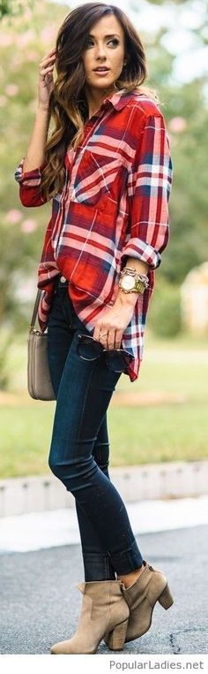 Plaid shirt + dark jeans