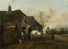 Philips Wouwerman - Voorname reizigers voor een dorpsherberg