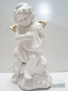 Vintage Cherub Angel Playing Harp Figurine by ALEXLITTLETHINGS