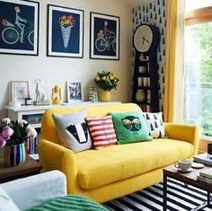 Bright yellow couch