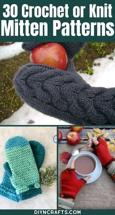 These crochet and knit mitten patterns are ideal for keeping big and little hands warm all winter!  Check out this complete list and begin crocheting today! This list of cozy mitten patterns is perfect for beginner crocheting.  Grab your free patterns today! #CrochetMittens #KnitMittens #CrochetPatterns #KnittingPatterns #CrochetAccessories #CrochetGloves Knitted Mittens Pattern, Crochet Mittens, Crochet Dishcloths, Crochet Gloves, Knit Or Crochet, Diy Crochet Patterns, Crochet Projects, Knitting Patterns, Quick Crochet Gifts