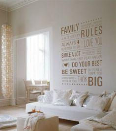 Muursticker Family Rules ... gepersonaliseerd met je eigen familie namen. Hoe leuk kunnen regels zijn!