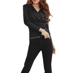 Allegra K Woman Deep V Neck Long Sleeve Ribbed Waist Close-fitting Shirt Top Black XS Allegra K. $10.26