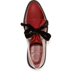 Marc by Marc Jacobs - Kent Velvet Bow-embellished Patent-leather... ($179) ❤ liked on Polyvore featuring shoes, oxfords, pointed toe oxfords, platform brogues, brogue shoes, brogue oxford and velvet slip on shoes