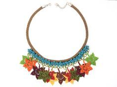 Necklace-Bohemian Chic Crochet Leaf Leaves Crystal by PinaraDesign