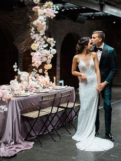 We have seen the pearly gates and they sure look PINK! This urban rooftop wedding venue played host to a moody, yet whimsical display of pink wedding ideas in our NYC Styled Social event. From the pretty petals dripping from the sky to the sequined bridal Forest Wedding Reception, Rooftop Wedding, Luxe Wedding, Ballroom Wedding, Garden Wedding, Wedding Ceremony, Wedding Table Centerpieces, Wedding Reception Decorations, Wedding Venues