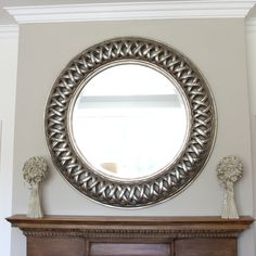Comely Accessories For Wall Decoration Using Various Ikea Round Mirror : Breathtaking Image Of Home Interior Decoration Using Small White Flower Table Centerpiece And Round Embossed Silver Metallic Ikea Round Mirror One Way Mirror Glass, Large Round Mirror, Round Mirrors, Fancy Mirrors, Mirror Floor, Large Mirrors, Circular Mirror, Oval Mirror, Mirror Above Fireplace