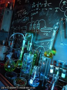 Mad Scientist Lab... I like the chalkboard backdrop. Could use the contact paper blackboard for this.