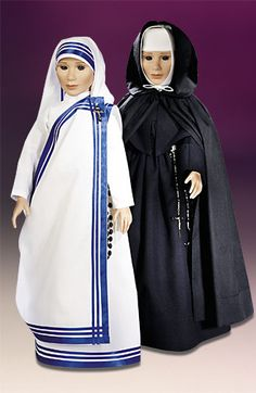 To the left-Missionary Sisters, to the right-Little Sisters of the Poor Nun Outfit, Missionaries Of Charity, Nun Costume, Daughters Of Charity, Nuns Habits, Old Time Religion, Poor Children, Catholic Gifts, Mother Teresa