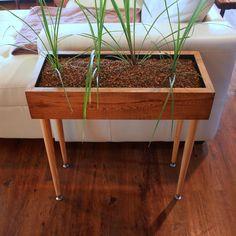 DANISH MODERN DESIGN Style Planter Box Table Custom Designed Handmade Furniture with Vintage Reclaimed Wood & Metal Legs